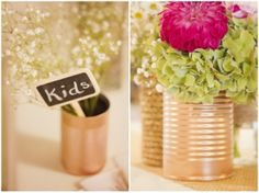 Gold spray painted tin can centerpieces (add table numbers on their too! Wedding Decorations On A Budget, Budget Wedding, Wedding Planning, Wedding Ideas, Wedding Styles, Wedding Stuff, Tin Can Centerpieces, Rustic Wedding Centerpieces, Centrepieces