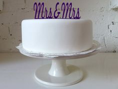 Mrs & Mrs Civil  Domestic Partnership / Lesbian Wedding Cake Topper $20 @ Etsy