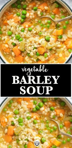 Let the homey flavors speak for themselves with this hearty and delicious vegetable barley soup. It's easy to make, healthy, filling, low fat, and you can't stop eating it! Vegetable Barley Soup, Vegetable Crisps, Vegetarian Barley Soup, Healthy Soup Recipes, Healthy Dinner Recipes, Low Fat Vegetarian Recipes, Barley Recipes, Meat Recipes, Recipies