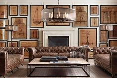 Interiors by Restoration Hardware Their designs are often industrial and masculine.