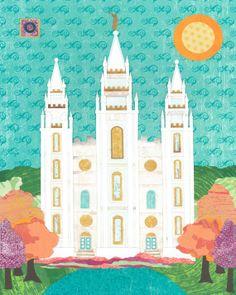 PRINT 16 by 20 Salt Lake City LDS Temple by AcorntoZebraCollage, $35.00