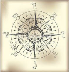 Vintage sun compass rose — Stock Vector © iatsun #6123109