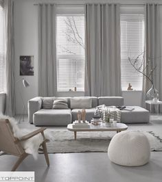 Silver curtain rods, floor to ceiling curtains, white venetian blinds
