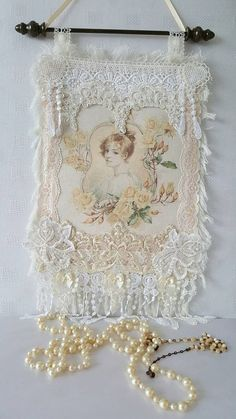Check out this item in my Etsy shop https://www.etsy.com/uk/listing/234794724/cream-lace-wall-hanging-shabby-chic-wall