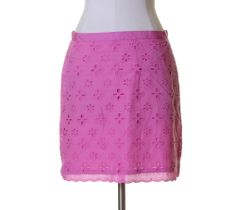 Ann Taylor LOFT Magenta Pink Eyelet Lace Lined Straight Skirt Size 6 #AnnTaylorLOFT #Straight