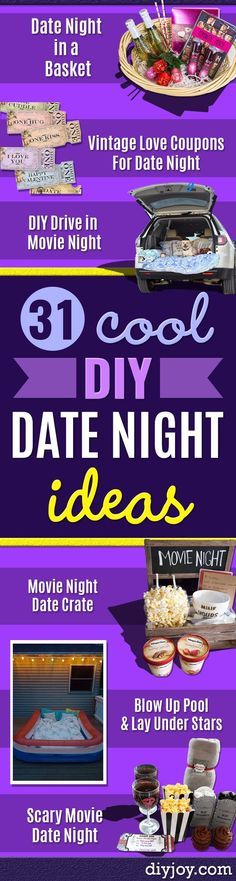 DIY Date Night Ideas - Creative Ways to Go On Inexpensive Dates - Creative Ways for Couples to Spend Time Together - Cute Kits and Cool DIY Gift Ideas for Men and Women - Cheap Ways to Have Fun With Your Husbnad or Wife, Girlfriend or Boyfriend Creative Date Night Ideas, Day Date Ideas, Drive In, Valentine's Day Quotes, Cool Diy, Basket Vintage, Blow Up Pool, Inexpensive Dates, Party Friends