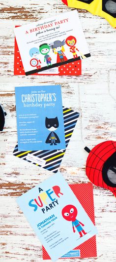 Adorable Super Kids Party Invitations from Tiny Prints #birthday