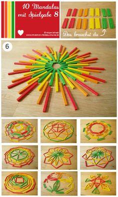 Vorlage Nr. 6 zum Mandala legen mit Kindern mit dem Legespiel Spielgabe 8: http://www.friedrich-froebel-online.de/s-p-i-e-l-g-a-b-e-n/8-legespiel-geometrische-formen/ Legespiele kaufen:  http://www.friedrich-froebel-online.de/shop/