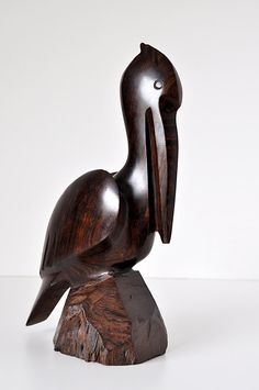 Vintage Carved Ironwood Pelican by MaudeAndLola on Etsy, $50.00