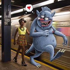 Meet Ben Rubin, the über talented artist behind Subway Doodle, an Instagram account with over 32,000 followers.  He makes the most of his daily commute from Park Slope in Brooklyn to his office in Manhattan by drawing freakish monsters beside unsuspecting subway passengers.