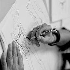 Official website - Fashion Design Studio behind the scenes, lingerie sketches, fashion designer at work // La Perla - Designer Lingerie, Luxury Lingerie, Lingerie Models, Italian Lingerie, Fashion Lingerie, Lingerie Dress, Fashion Studio, Fashion Art, Fashion Design