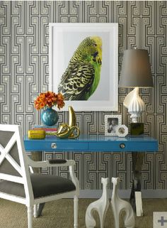 """Love the parrot and the teal lacquered console table! Jonathan Adler """"George"""" wallpaper."""