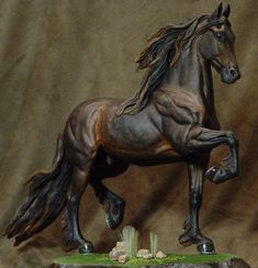 Nice Friesian, painted by Michaud. Horse Sculpture, Animal Sculptures, Bryer Horses, Horse Anatomy, Horse Artwork, Black Horses, Painted Pony, Horse World, Toy Art