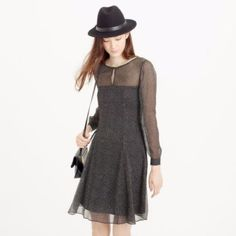 Jcrew Black Silk Polka Dot Dress