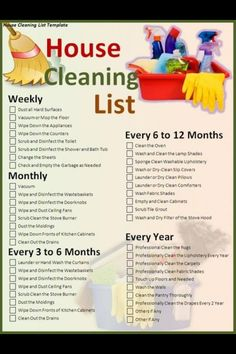 House Cleaning List Good To Know