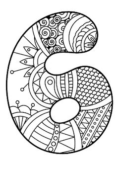 Number 6 Coloring Sheet Awesome Number 6 Zentangle Coloring Page Coloring Letters, Coloring Sheets, Adult Coloring, Coloring Pages, Numbers Preschool, Preschool Math, Stencils, Letters And Numbers, Zentangle