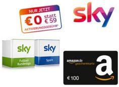 Sky: Starter-Paket für zwölf Monate mit 100 Euro Bonus https://www.discountfan.de/artikel/technik_und_haushalt/sky-starter-paket-fuer-zwoelf-monate-mit-100-euro-bonus.php So hoch war der Bonus noch nie: Wer jetzt ein Sky-Paket abschließt, spart sich nicht nur die Einrichtungsgebühr von knapp 60 Euro, sondern erhält noch einen Amazon-Gutschein in Höhe von 100 Euro obendrauf. Die Laufzeit beträgt nur zwölf Monate. Sky: Starter-Paket für zwölf Monate mit 100 Euro...