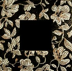 Black and White Black and white floral glass mosaic ...
