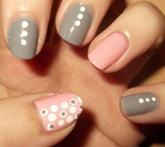 Polka Dot Manicure . Love the colors together