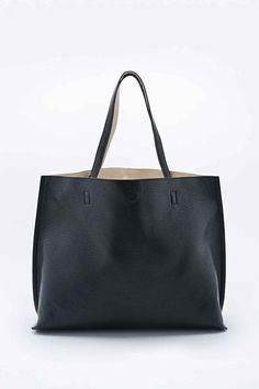 abce48015418 Reversible Vegan Leather Oversized Tote Bag in Black and Ivory Black Tote  Bag