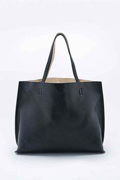Reversible - Fourre-tout oversize imitation cuir noir et ivoire