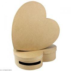 Lote de 2 urnas corazón 9 x 36 y 10 x 36 cm para decorar - Fotografía n°1