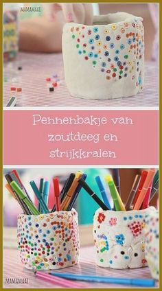 Pencil case make salt dough and ironing beads - Kids Crafts Kids Crafts, Clay Crafts, Diy And Crafts, Arts And Crafts, Pot A Crayon, Iron Beads, Ideias Diy, Pencil Boxes, Air Dry Clay