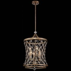 Ravishing aged Arcadian Gold finishes this regal hoop-style pendant light. Delicate crisscross chain is adorned with sparkling crystal beads and a rectangular wall plate completes this fabulous 6-light design. A great look for your home from...