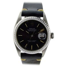 Vintage Rolex Datejust rare black dial stainless steel wrist watch, circa This Swiss wrist watch has 26 jewel perpetual movement ref caliber. Antique Watches, Vintage Watches, Vintage Rolex, Rolex Datejust, Wrist Watches, Fathers Day Gifts, Omega Watch, Stainless Steel, Gift Ideas