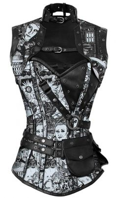 Steampunk Corset, Belted Overbust Sci Fi Corset w Jacket,