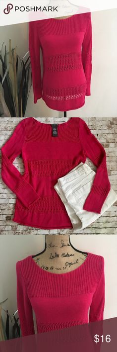 Bright pink open weave sweater Pretty bright pink mixed open weave sweater. Long sleeves. Tunic length. Sz medium. Measurements upon request. Color may vary based on monitor/screen viewed. B1 Chelsea & Theodore Sweaters Crew & Scoop Necks