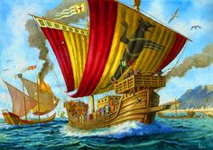 Naval battle between Norman and Muslim fleet, outside Palermo, the capitol of Sicily in Palermo, Friedrich Ii, High Middle Ages, Pirate Art, Naval History, Islamic World, Dark Ages, Fantasy Landscape, Ancient Civilizations
