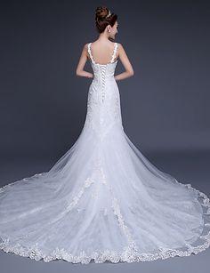 Fit&Flare V-neck Court Train Tulle Wedding Dress – USD $ 199.99
