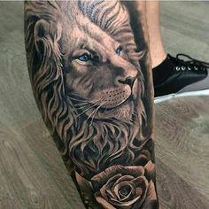 125 Best Lion Tattoos For Men: Cool Designs + Ideas Guide) - Unique Lion Leg Tattoo Designs – Best Lion Tattoos For Men: Cool Lion Tattoo Designs and Ideas Fo - Lion And Rose Tattoo, Lion Leg Tattoo, Lion Head Tattoos, Mens Lion Tattoo, Lion Tattoo Design, Leg Tattoo Men, Forearm Tattoos, Tattoo Designs Men, Body Art Tattoos