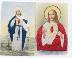 Vintage Embroidered Religious Postcards  Sacred Heart & Immaculate Heart of Mary
