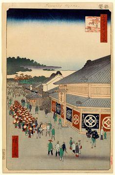 "Hiroshige - One Hundred Famous Views of Edo Spring 13 Shitaya Hirokōji (下谷広小路?)Hirokōji (""Broadway""), premises of textile retailer MatsuzakayaPublished in the same month in which the depicted Matsuzakaya store re-opened after the 1855 earthquake1856 / 9Ueno, Taitō"