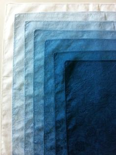 Japanese indigo dyeing - intensity of dye in the fabric in a graduated 'ombre' effect. Azul Indigo, Bleu Indigo, Indigo Dye, Mood Indigo, Le Grand Bleu, Blue Aesthetic, Color Azul, Gradient Color, Shibori