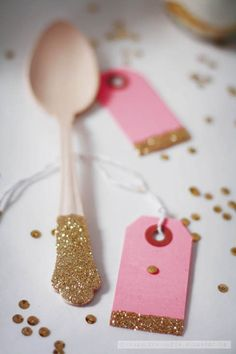 Glitter spoons and tags.