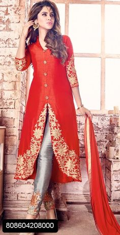 Pleasing red embroidered silk indo western dress for ladies-designer dresses-dresses Indian Gowns, Pakistani Dresses, Indian Wear, Indian Outfits, Designer Suits Online, Designer Dresses, Designer Sarees, Kurta Designs, Blouse Designs