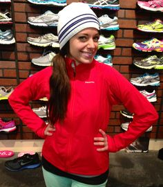 Getting sassy in the Patagonia Wind Shield Jacket and Saucony Beanie.