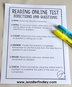Online Testing Strategies: Prepare Your Students To Take Online Assessments - Teaching with Jennifer Findley Test Taking Strategies, Text Dependent Questions, Importance Of Time Management, Online Tests, College, This Or That Questions, Free Printable, Students, Third Grade