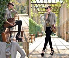 envelope clutch, shades, outerwear, shirt with quirky quote, skinnies, black wedges