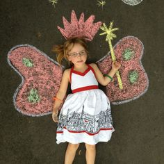 OSidewalk Chalk Art - fun for the kids to design themselves as well. My daughter loved seeing her picture afterward.