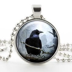 Raven Glass Photo Pendant Silver Necklace Jewelry by ChicBridalBoutique on Opensky