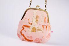 Clutch bag  Seven dwarves in pink   metal frame purse by octopurse, $51.30
