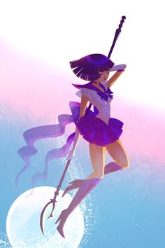 bishoujo senshi sailor moon boots bow choker cross-laced footwear elbow gloves eyes closed glaive gloves high heel boots high heels highres jisoo kim lace-up boots polearm purple footwear purple hair purple skirt sailor saturn shoes shor Sailor Neptune, Sailor Saturn, Sailor Mars, Arte Sailor Moon, Sailor Moon Fan Art, Sailor Moon Character, Sailor Mercury, Sailor Moon Crystal, Sailor Scouts