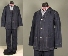 Vintage Mens 1940s/1950s Workwear Denim Jacket  by jauntyrooster
