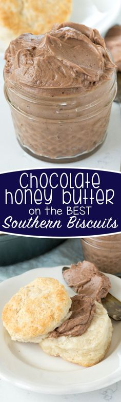 Chocolate Honey Butter - this recipe is so easy and indulgent! Whip butter with honey and cocoa for the BEST spread for biscuits. We couldn't stop eating it!