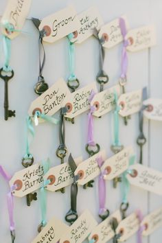 We always love using keys as the basis of an escort card display. Photography by sarahderphotography.com