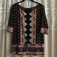 Lucky Brand | Tribal print top 3/4 length sleeves, with an effortlessly cool & breathable print Lucky Brand Tops